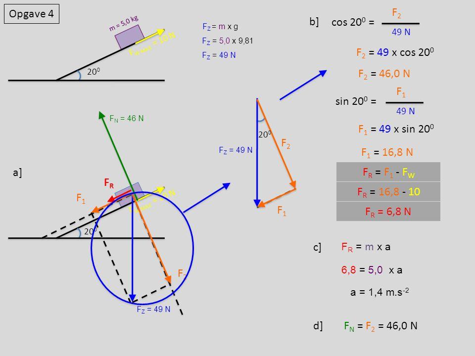 Opgave 4 F2 b] cos 200 = F2 = 49 x cos 200 F2 = 46,0 N F1 sin 200 =
